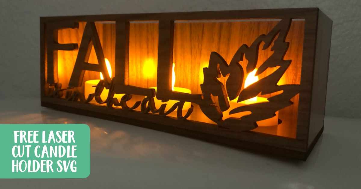 Free Autumn 'Fall is in the Air' Candle Holder SVG - Made